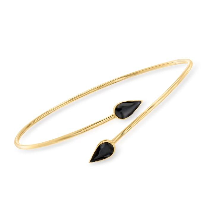 Black Enamel Bypass Bangle Bracelet in 14kt Yellow Gold