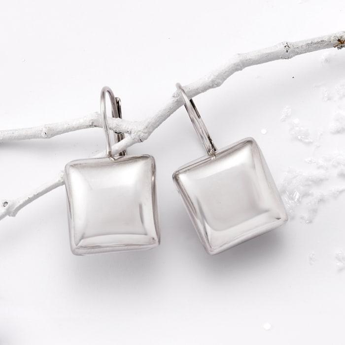 Italian Sterling Silver Square Drop Earrings