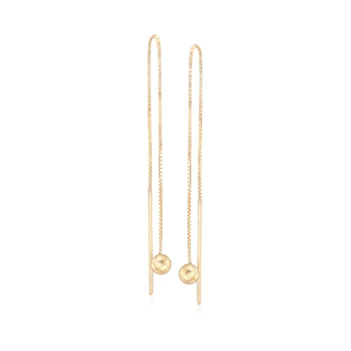14kt Yellow Gold Ball Drop Threader Earrings