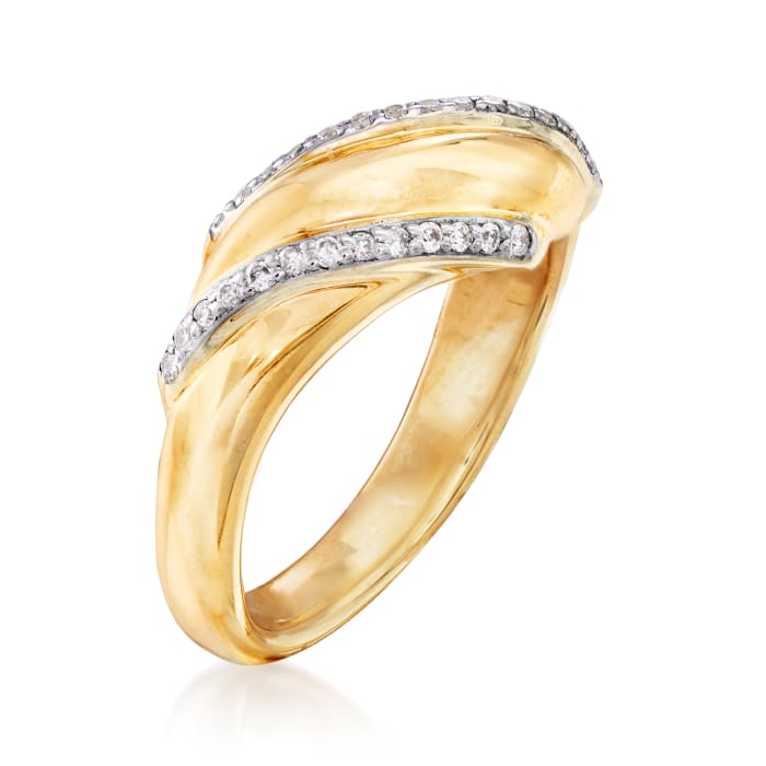 .14 ct. t.w. Diamond Double-Row Sash Ring in 14kt Yellow Gold