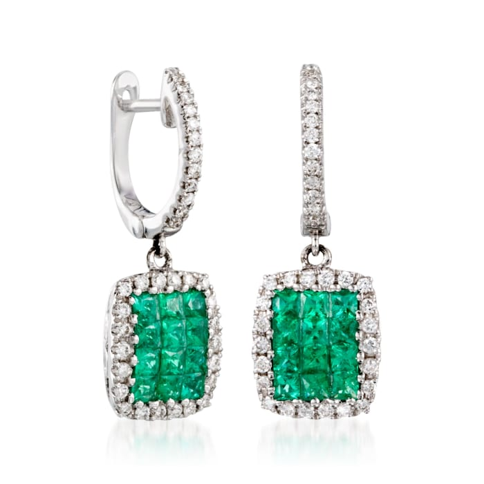 Gregg Ruth .60 ct. t.w. Emerald and .25 ct. t.w. Diamond Earrings in 18kt White Gold