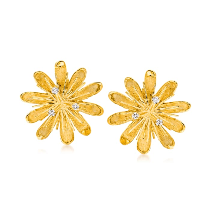 C. 1980 Vintage .30 ct. t.w. Diamond Flower Clip-On Earrings in 18kt Yellow Gold