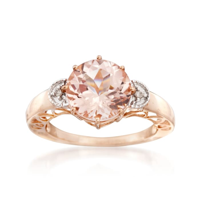 3.40 Carat Morganite Ring with Diamond Accents in 14kt Two-Tone Gold