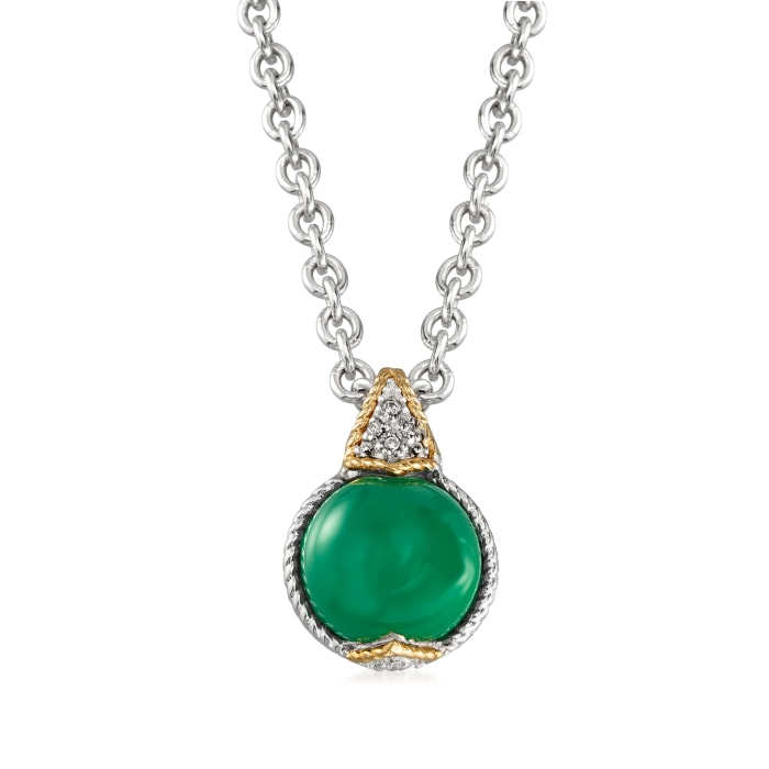 "Andrea Candela ""Dulcitos"" Green Agate Pendant Necklace in Sterling Silver and 18kt Yellow Gold"