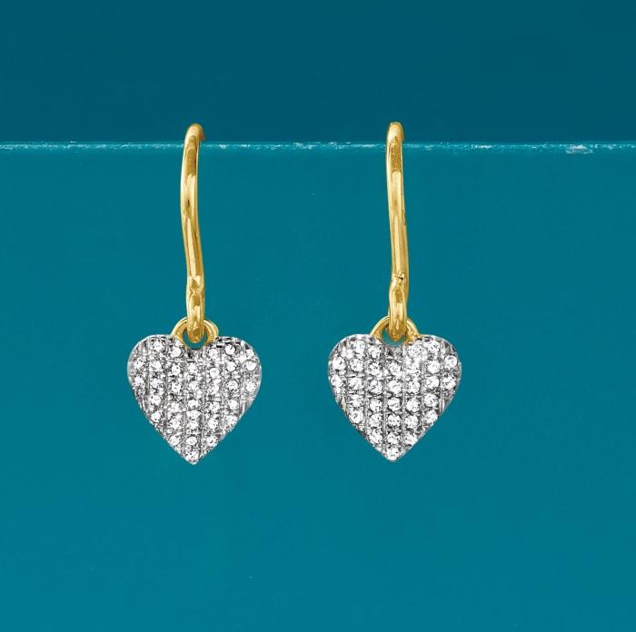 .12 ct. t.w. Diamond Heart Drop Earrings in 14kt Yellow Gold