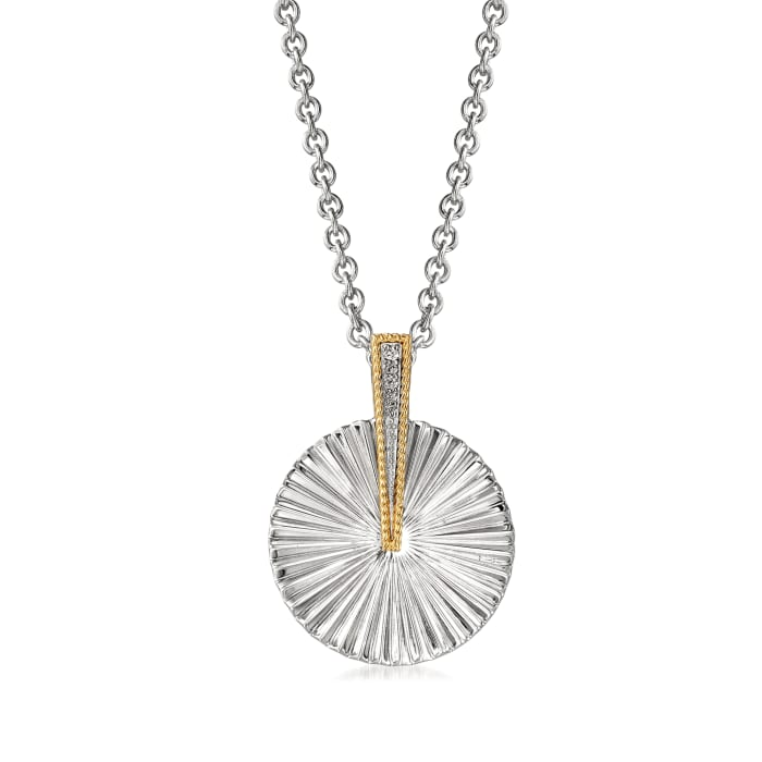 """Andrea Candela """"Flamenco"""" Sterling Silver and 18kt Yellow Gold Pendant Necklace"""