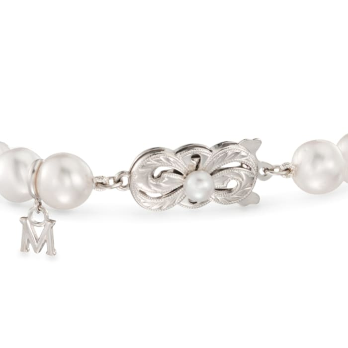 """Mikimoto """"Everyday"""" 7-7.5mm a Akoya and 10mm A+ South Sea Pearl Bracelet with .40 ct. t.w. Diamonds in 18kt White Gold"""