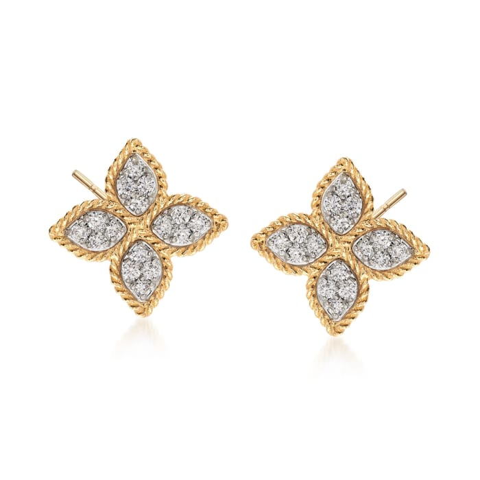 """Roberto Coin """"Princess"""" .38 ct. t.w. Diamond Flower Earrings in 18kt Yellow Gold"""