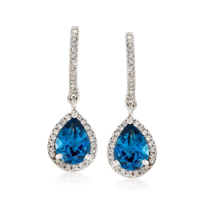 2.70 ct. t.w. London Blue and White Topaz Drop Earrings in Sterling Silver