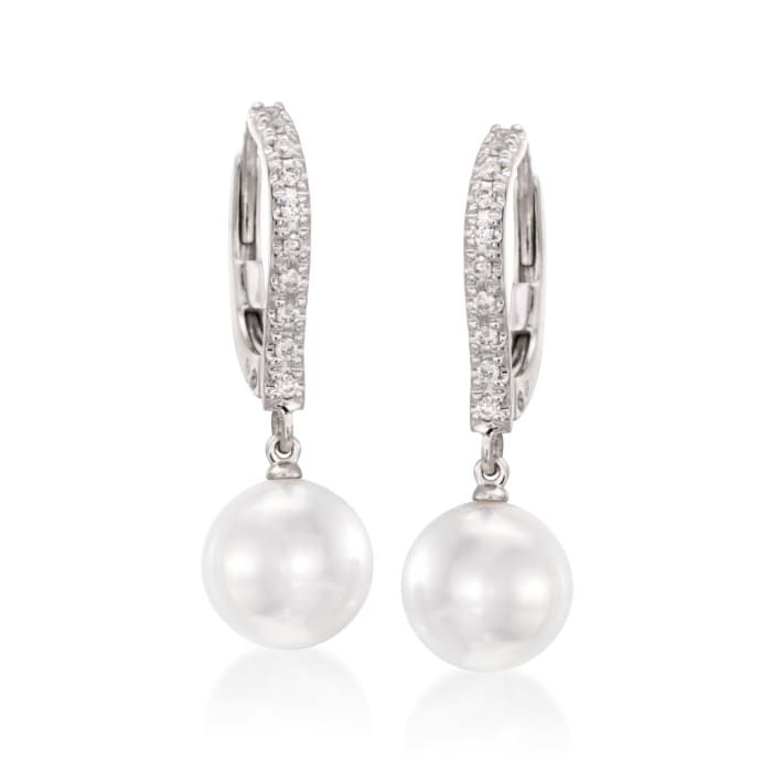 Mikimoto 7.5mm Akoya Pearl Drop Earrings with Diamonds in 18kt White Gold
