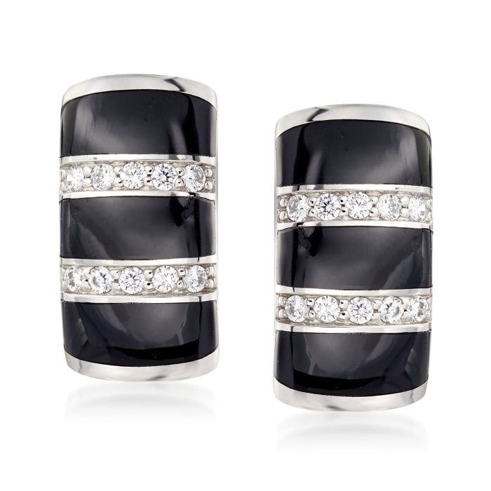 "Belle Etoile ""Regal"" Black Onyx and .36 ct. t.w. CZ Hoop Earrings in Sterling Silver"