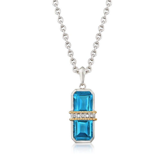 """Andrea Candela """"Ilusion"""" 6.50 ct. t.w. Blue Topaz and Diamond Pendant Necklace in 18kt Gold and Sterling"""