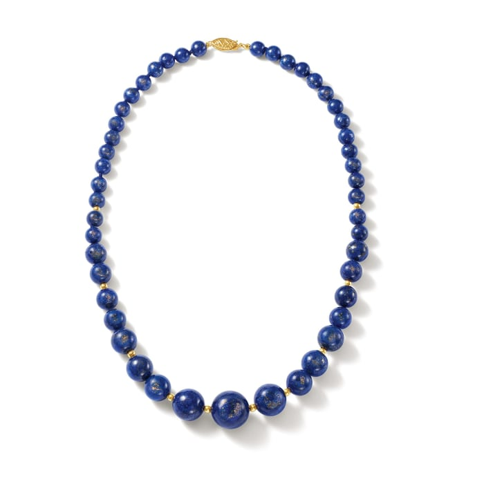 6-13mm Lapis Bead Graduated Necklace with 14kt Yellow Gold