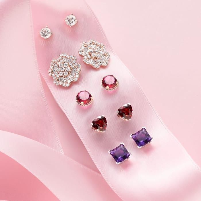 .70 ct. t.w. Morganite Stud Earrings in 18kt Rose Gold Over Sterling