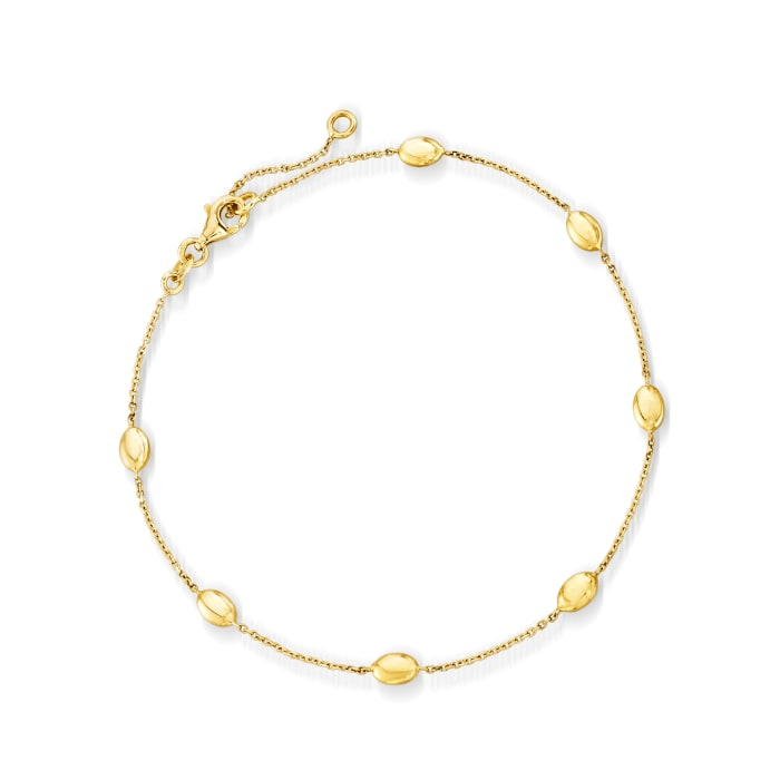 Italian 14kt Yellow Gold Oval-Bead Station Anklet