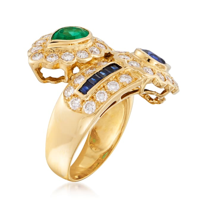 C. 1980 Vintage 1.76 ct. t.w. Diamond, 1.04 ct. t.w. Sapphire and .76 ct. t.w. Emerald Bypass Ring in 18kt Yellow Gold