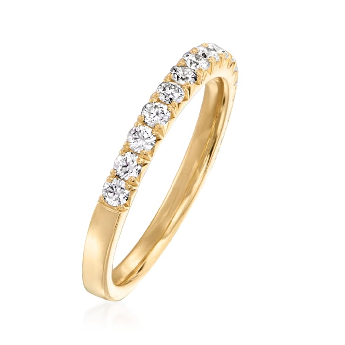 Henri Daussi .45 ct. t.w. Pave Diamond Wedding Ring in 18kt Yellow Gold