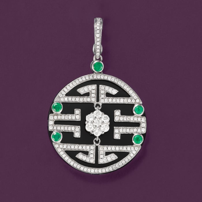 Black Onyx and 1.00 ct. t.w. Diamond Maze Pendant with .30 ct. t.w. Emeralds in 18kt White Gold