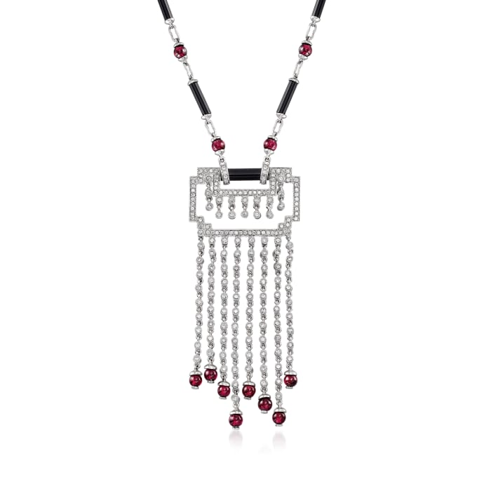C. 2000 Vintage 7.00 ct. t.w. Garnet, 2.00 ct. t.w. Diamond and Black Onyx Geometric Necklace in 18kt White Gold