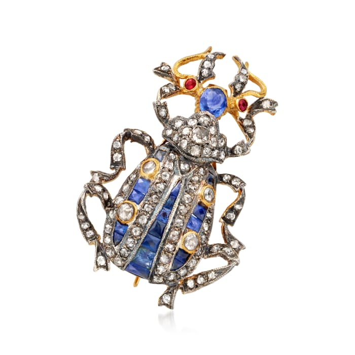 C. 1940 Vintage 1.73 ct. t.w. Sapphire and 1.59 ct. t.w. Diamond Bug Pin/Pendant in 14kt Gold Over Sterling