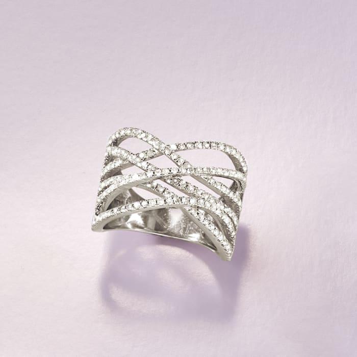1.00 ct. t.w. Multi-Row Diamond Crisscross Ring in Sterling Silver