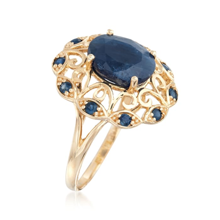 4.20 ct. t.w. Saphire Scrolled Ring in 14kt Yellow Gold