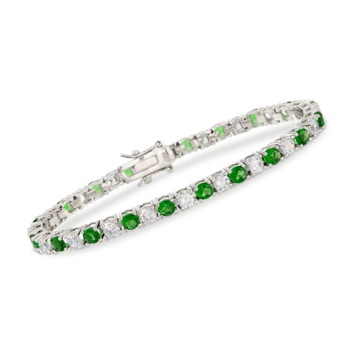 4.35 ct. t.w. Simulated Emerald and 4.35 ct. t.w. CZ Tennis Bracelet in Sterling Silver