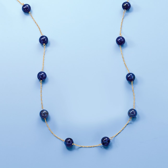 8mm Blue Lapis Bead Station Necklace in 14kt Yellow Gold