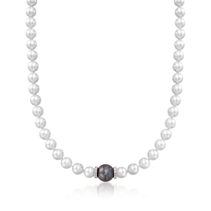 """Mikimoto """"Every Essentials"""" 7-7.5mm A+ Akoya and 11mm Black South Sea Pearl Necklace with Diamonds in 18kt White Gold"""