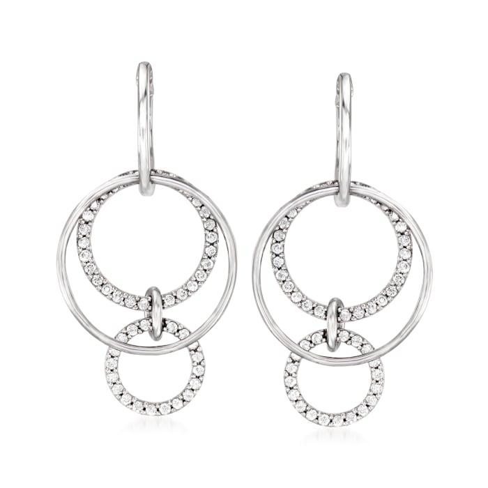 1.00 ct. t.w. Diamond Multi-Circle Hoop Drop Earrings in Sterling Silver
