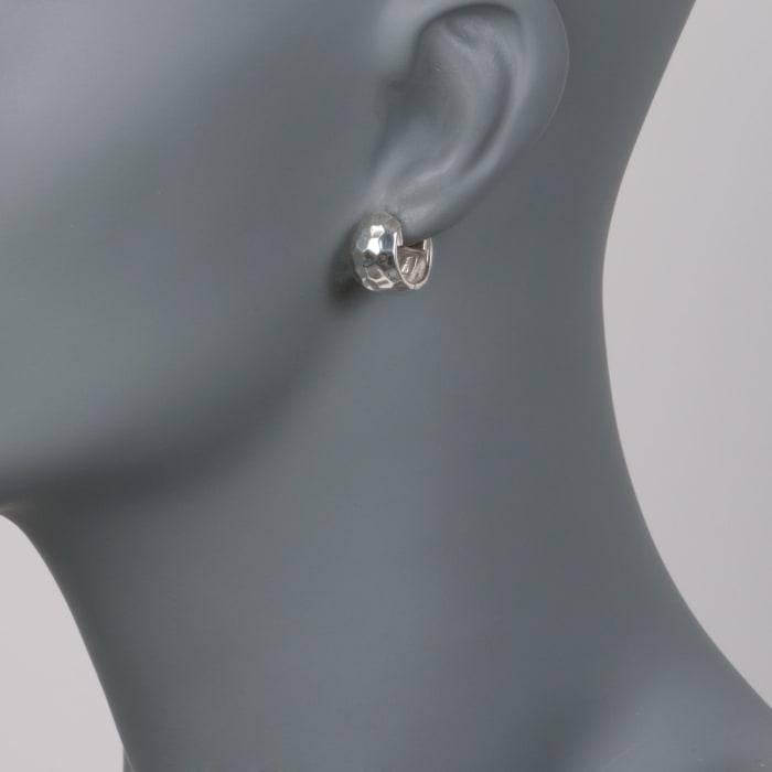 """Zina Sterling Silver """"Sahara"""" Hammered Hoop Earrings"""