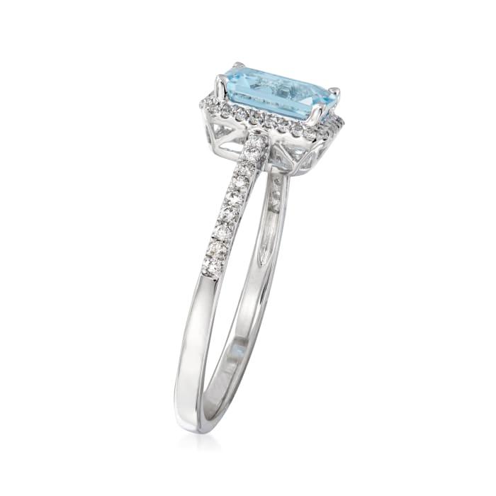.80 Carat Aquamarine and .17 ct. t.w. Diamond Ring in 14kt White Gold
