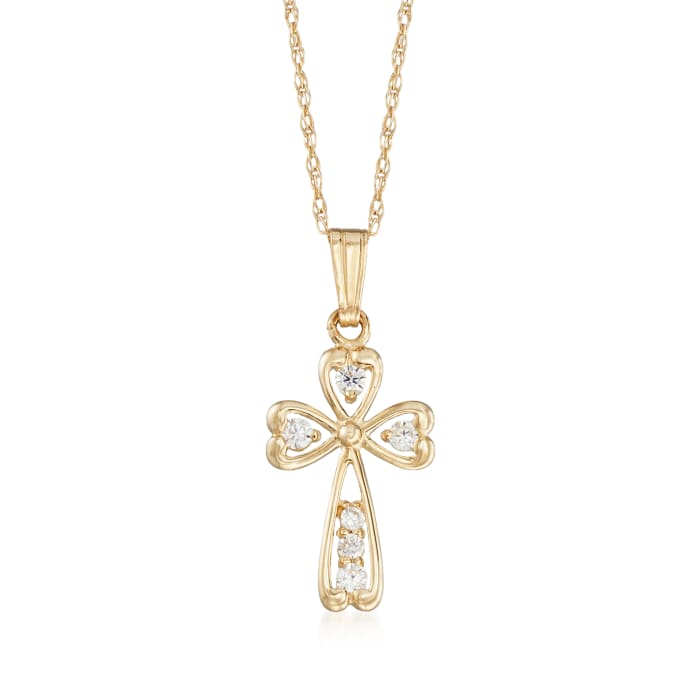 Child's .18 ct. t.w. CZ Cross Pendant Necklace in 14kt Yellow Gold