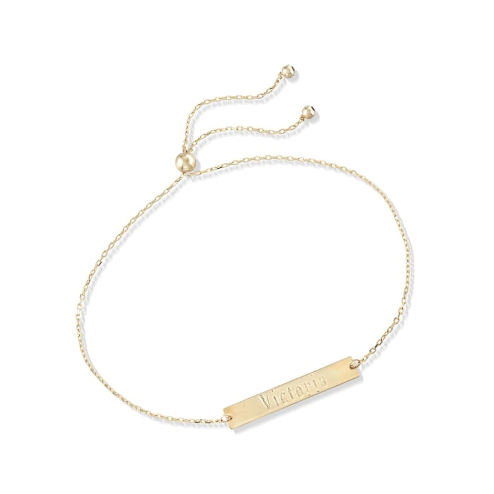 14kt Yellow Gold Name Bar ID Bolo Bracelet