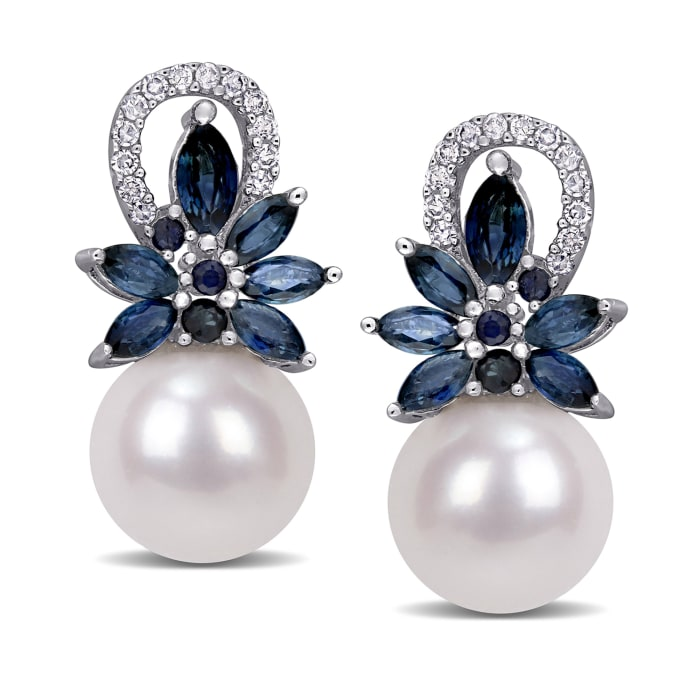9-9.5mm Cultured Pearl, 1.66 ct. t.w. Sapphire and .13 ct. t.w. Diamond Flower Drop Earrings in 14kt White Gold
