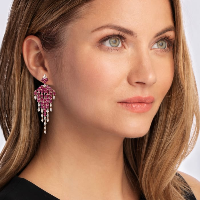 12.40 ct. t.w. Ruby and 3.70 ct. t.w. Diamond Chandelier Earrings in 18kt Rose Gold