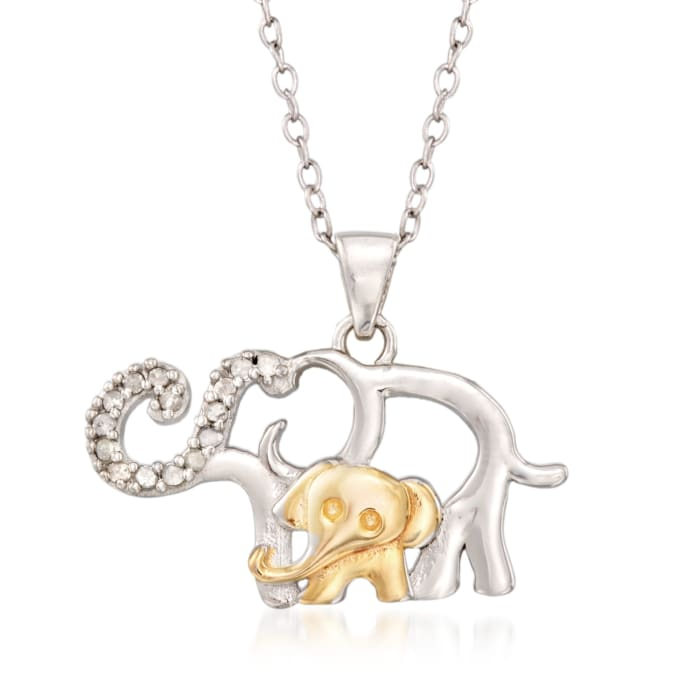 .10 ct. t.w. Diamond Mother and Baby Elephant Pendant Necklace in Sterling Silver and 18kt Gold Over Sterling