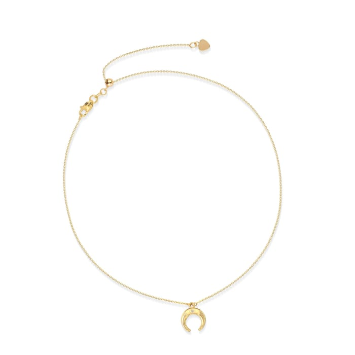 14kt Yellow Gold Moon Choker Necklace with Diamond Accent