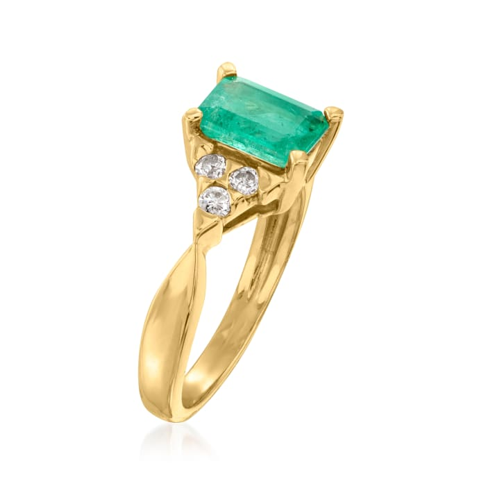 1.65 Carat Emerald and .20 ct. t.w. Diamond Ring in 14kt Yellow Gold