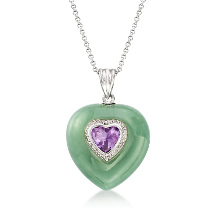 Jade and 1.50 Carat Amethyst Heart Pendant Necklace in Sterling Silver