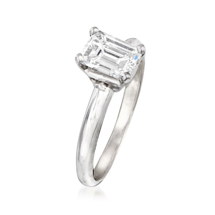 1.20 Carat Certified Emerald-Cut Solitaire Diamond Engagement Ring in 14kt White Gold