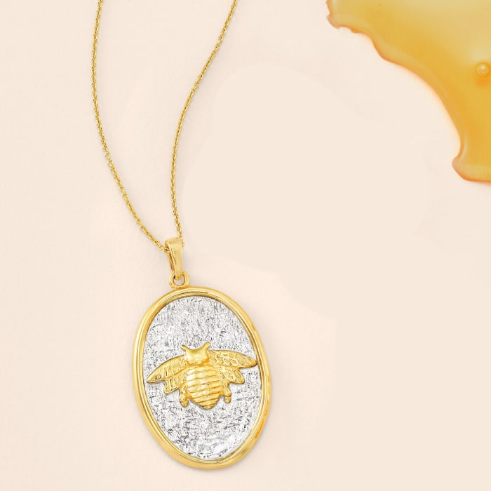 Italian Sterling Silver and 18kt Gold Over Sterling Bee Pendant Necklace