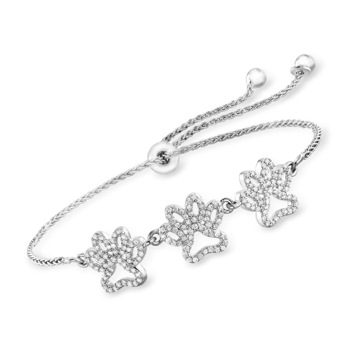 .50 ct. t.w. Diamond Paw Print Bolo Bracelet in Sterling Silver