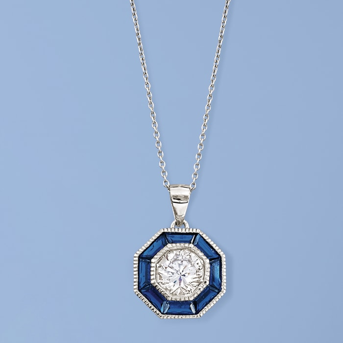 1.50 Carat CZ and 1.20 ct. t.w. Simulated Sapphire Pendant Necklace in Sterling Silver