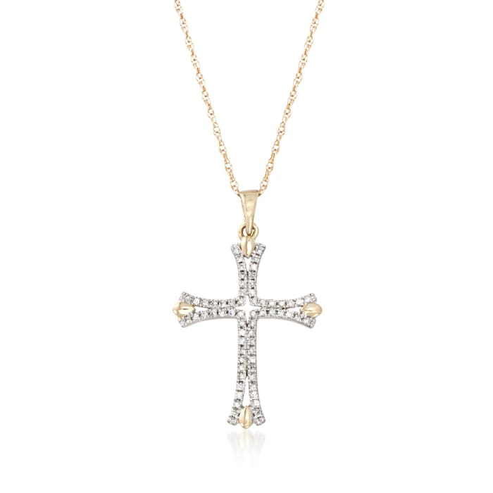 .12 ct. t.w. Diamond Cross Pendant Necklace in 14kt Yellow Gold