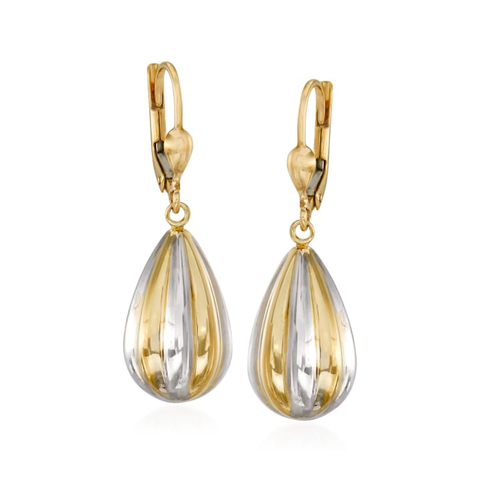 14kt Two-Tone Gold Teardrop Earrings