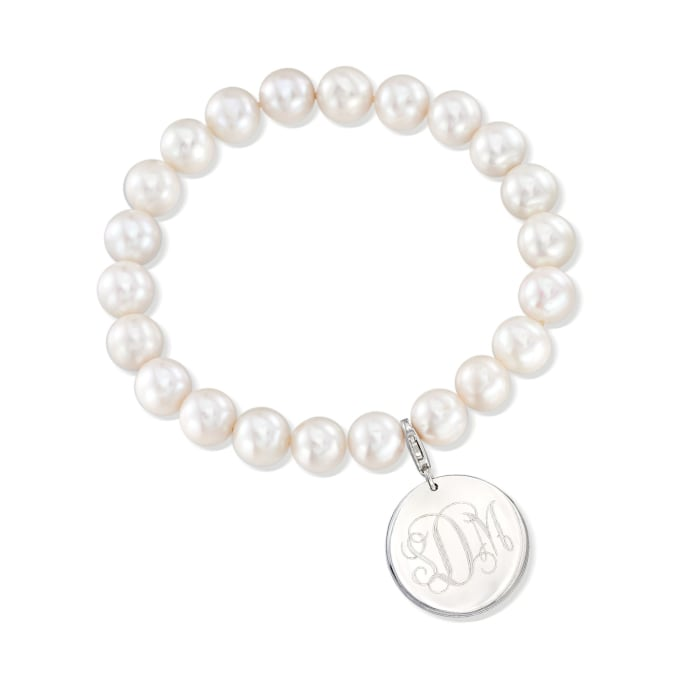 8-8.5mm Cultured Pearl Bracelet with Sterling Silver Personalized Disc Charm