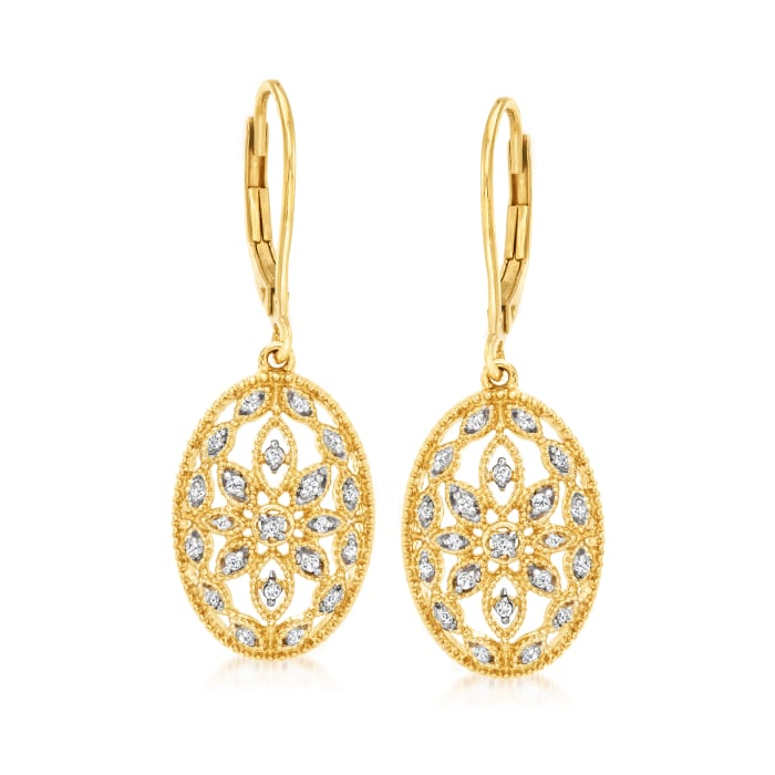 .10 ct. t.w. Diamond Floral Openwork Drop Earrings in 18kt Gold Over Sterling