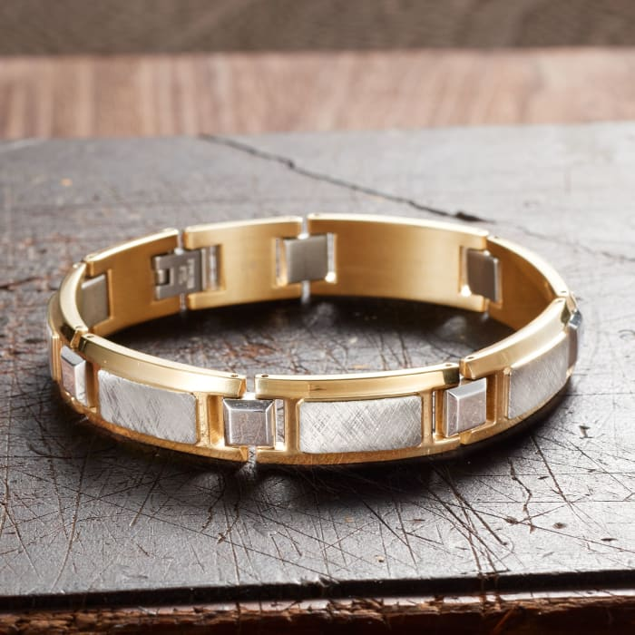 Men's Two-Tone Stainless Steel Textured and Polished Link Bracelet