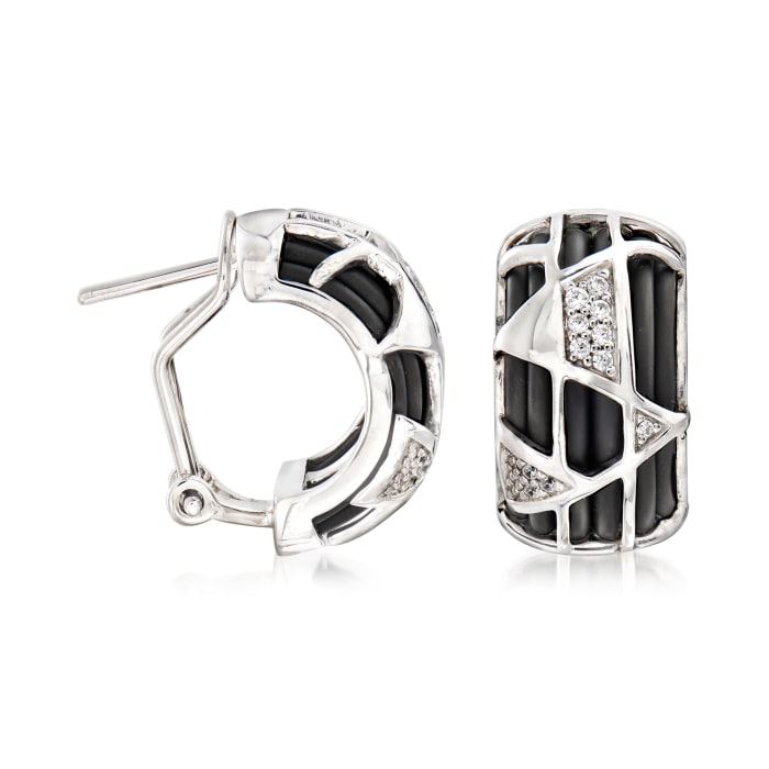 "Belle Etoile ""Trilogy"" Black Rubber and .11 ct. t.w. CZ Hoop Earrings in Sterling Silver"